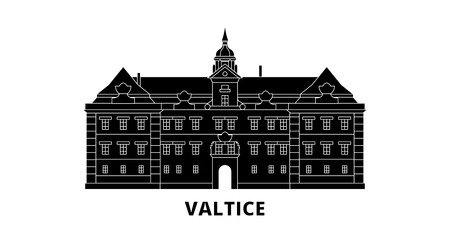 Czech Republic, Valtice flat travel skyline set. Czech Republic, Valtice black city vector panorama, illustration, travel sights, landmarks, streets.  イラスト・ベクター素材