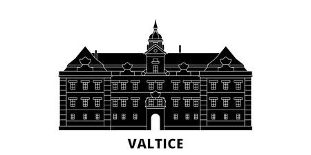 Czech Republic, Valtice flat travel skyline set. Czech Republic, Valtice black city vector panorama, illustration, travel sights, landmarks, streets. Illustration