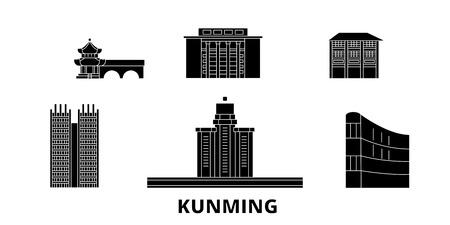 China, Kunming flat travel skyline set. China, Kunming black city vector panorama, illustration, travel sights, landmarks, streets. Vector Illustration