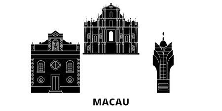 China, Macau flat travel skyline set. China, Macau black city vector panorama, illustration, travel sights, landmarks, streets.