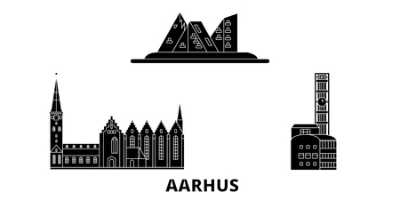 Denmark, Aarhus flat travel skyline set. Denmark, Aarhus black city vector panorama, illustration, travel sights, landmarks, streets.
