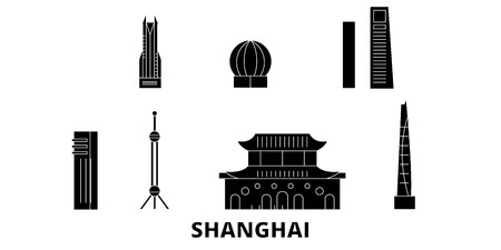 China, Shanghai City flat travel skyline set. China, Shanghai City black city vector panorama, illustration, travel sights, landmarks, streets. Illustration