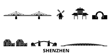 China, Shenzhen flat travel skyline set. China, Shenzhen black city vector panorama, illustration, travel sights, landmarks, streets.