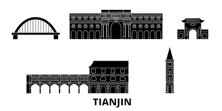 China, Tianjin City flat travel skyline set. China, Tianjin City black city vector panorama, illustration, travel sights, landmarks, streets. Illustration