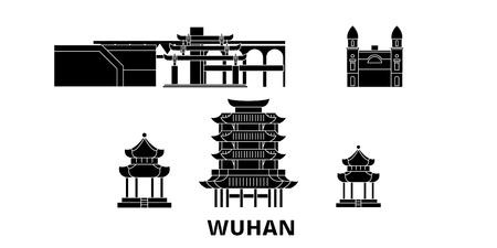 China, Wuhan flat travel skyline set. China, Wuhan black city vector panorama, illustration, travel sights, landmarks, streets.