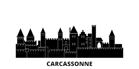 France, Carcassonne Landmark flat travel skyline set. France, Carcassonne Landmark black city vector panorama, illustration, travel sights, landmarks, streets.