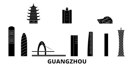 China, Guangzhou City flat travel skyline set. China, Guangzhou City black city vector panorama, illustration, travel sights, landmarks, streets.