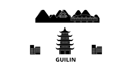 China, Guilin flat travel skyline set. China, Guilin black city vector panorama, illustration, travel sights, landmarks, streets. Banco de Imagens - 120658040