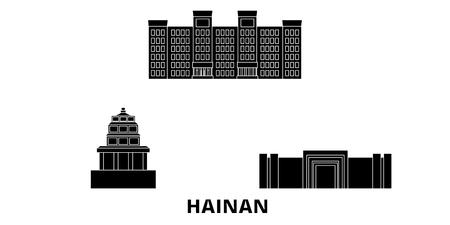 China, Hainan flat travel skyline set. China, Hainan black city vector panorama, illustration, travel sights, landmarks, streets. Illustration