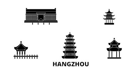 China, Hangzhou flat travel skyline set. China, Hangzhou black city vector panorama, illustration, travel sights, landmarks, streets.