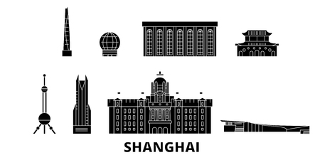China, Shanghai flat travel skyline set. China, Shanghai black city vector panorama, illustration, travel sights, landmarks, streets.