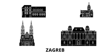 Croatia, Zagreb flat travel skyline set. Croatia, Zagreb black city vector panorama, illustration, travel sights, landmarks, streets. Ilustração