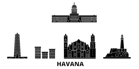 Cuba, Havana flat travel skyline set. Cuba, Havana black city vector panorama, illustration, travel sights, landmarks, streets.