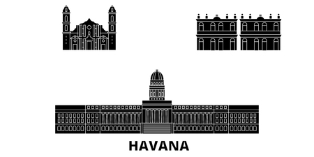 Cuba, Havana City flat travel skyline set. Cuba, Havana City black city vector panorama, illustration, travel sights, landmarks, streets.