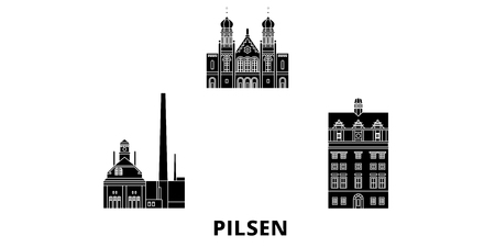Czech Republic, Pilsen flat travel skyline set. Czech Republic, Pilsen black city vector panorama, illustration, travel sights, landmarks, streets.