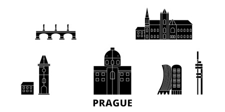 Czech Republic, Prague flat travel skyline set. Czech Republic, Prague black city vector panorama, illustration, travel sights, landmarks, streets.