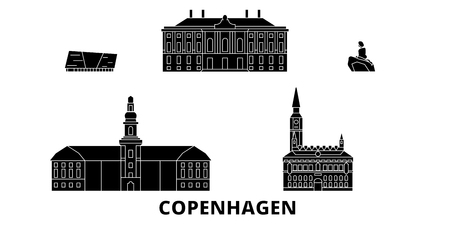 Denmark, Copenhagen flat travel skyline set. Denmark, Copenhagen black city vector panorama, illustration, travel sights, landmarks, streets.