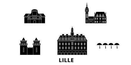 France, Lille flat travel skyline set. France, Lille black city vector panorama, illustration, travel sights, landmarks, streets.