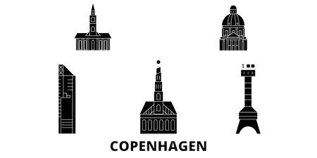 Denmark, Copenhagen City flat travel skyline set. Denmark, Copenhagen City black city vector panorama, illustration, travel sights, landmarks, streets.