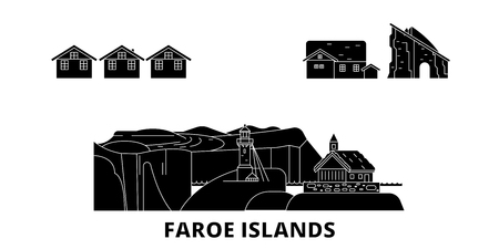 Denmark, Faroe Islands flat travel skyline set. Denmark, Faroe Islands black city vector panorama, illustration, travel sights, landmarks, streets.