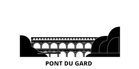 Francia, Pont Du Gard, horizonte de viaje plano. Francia, Pont Du Gard panorama vectorial de la ciudad negra, ilustración, lugares turísticos, monumentos, calles. Ilustración de vector