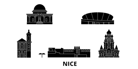 France, Nice flat travel skyline set. France, Nice black city vector panorama, illustration, travel sights, landmarks, streets.