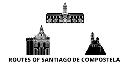 France, Routes Of Santiago De Compostela flat travel skyline set. France, Routes Of Santiago De Compostela black city vector panorama, illustration, travel sights, landmarks, streets. Ilustração
