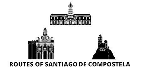 France, Routes Of Santiago De Compostela flat travel skyline set. France, Routes Of Santiago De Compostela black city vector panorama, illustration, travel sights, landmarks, streets. Illustration