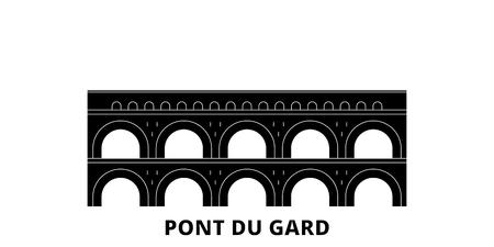Francia, Pont Du Gard Landmark piatto skyline di viaggio impostato. Francia, Pont Du Gard Landmark città nera panorama vettoriale, illustrazione, siti di viaggi, punti di riferimento, strade.