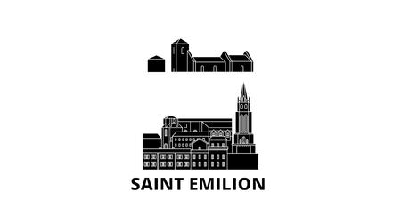 France, Saint Emilion  flat travel skyline set. France, Saint Emilion  black city vector panorama, illustration, travel sights, landmarks, streets.