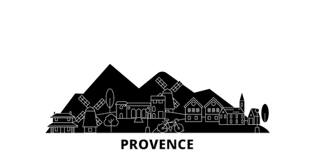 France, Provence flat travel skyline set. France, Provence black city vector panorama, illustration, travel sights, landmarks, streets.