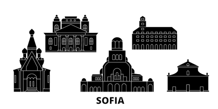 Bulgaria, Sofia flat travel skyline set. Bulgaria, Sofia black city vector panorama, illustration, travel sights, landmarks, streets.