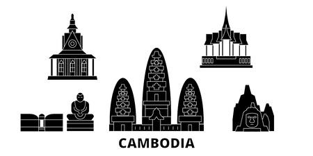 Ensemble d'horizon de voyage plat au Cambodge. Panorama vectoriel de la ville noire du Cambodge, illustration, sites touristiques, monuments, rues.