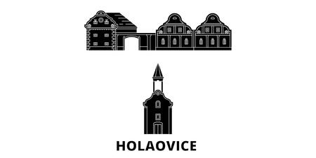 Czech Republic, Holasovice flat travel skyline set. Czech Republic, Holasovice black city vector panorama, illustration, travel sights, landmarks, streets. Иллюстрация