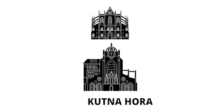 Czech Republic, Kutna Hora flat travel skyline set. Czech Republic, Kutna Hora black city vector panorama, illustration, travel sights, landmarks, streets.