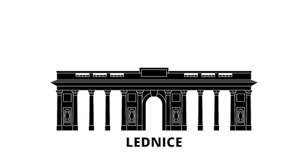 Czech Republic, Lednice flat travel skyline set. Czech Republic, Lednice black city vector panorama, illustration, travel sights, landmarks, streets.