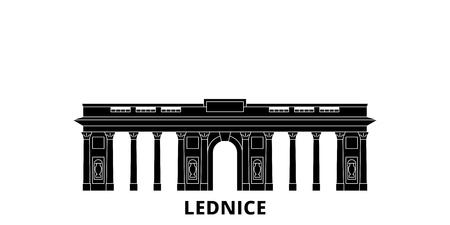Czech Republic, Lednice flat travel skyline set. Czech Republic, Lednice black city vector panorama, illustration, travel sights, landmarks, streets.