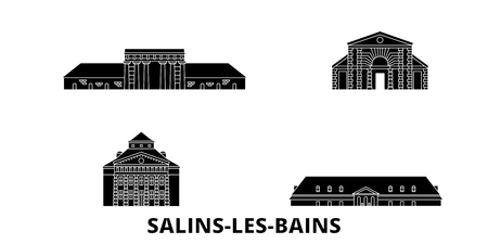 France, Salins Les Bains flat travel skyline set. France, Salins Les Bains black city vector panorama, illustration, travel sights, landmarks, streets.