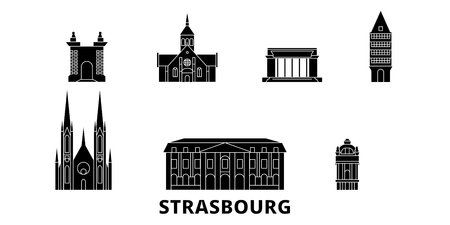 France, Strasbourg flat travel skyline set. France, Strasbourg black city vector panorama, illustration, travel sights, landmarks, streets.