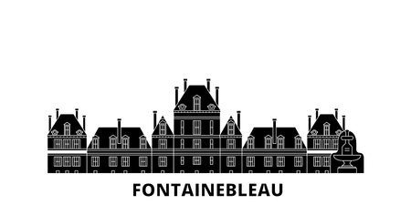 France, Fontainebleau Landmark flat travel skyline set. France, Fontainebleau Landmark black city vector panorama, illustration, travel sights, landmarks, streets.