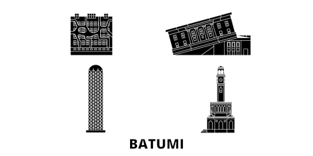 Georgia, Batumi flat travel skyline set. Georgia, Batumi black city vector panorama, illustration, travel sights, landmarks, streets.