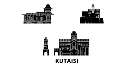 Georgia, Kutaisi flat travel skyline set. Georgia, Kutaisi black city vector panorama, illustration, travel sights, landmarks, streets.