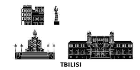 Georgia, Tbilisi flat travel skyline set. Georgia, Tbilisi black city vector panorama, illustration, travel sights, landmarks, streets.