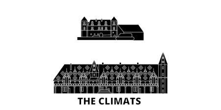 France, The Climats flat travel skyline set. France, The Climats black city vector panorama, illustration, travel sights, landmarks, streets. Ilustração
