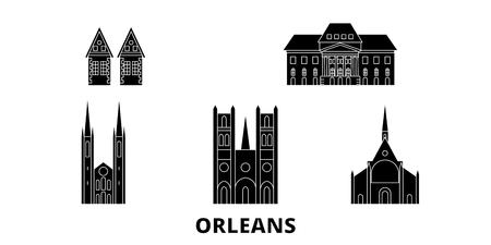 France, Orleans flat travel skyline set. France, Orleans black city vector panorama, illustration, travel sights, landmarks, streets. Illustration