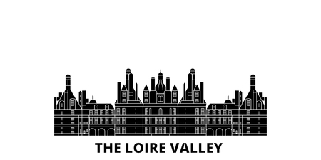 France, The Loire Valley  flat travel skyline set. France, The Loire Valley  black city vector panorama, illustration, travel sights, landmarks, streets.