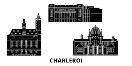 Belgique, Charleroi plat voyage skyline set. Belgique, panorama vectoriel de la ville noire de Charleroi, illustration, sites touristiques, monuments, rues. Vecteurs