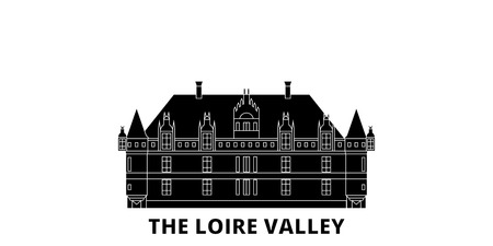 France, The Loire Valley Landmark flat travel skyline set. France, The Loire Valley Landmark black city vector panorama, illustration, travel sights, landmarks, streets.