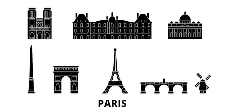 France, Paris flat travel skyline set. France, Paris black city vector panorama, illustration, travel sights, landmarks, streets.