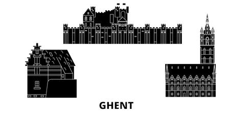 Belgium, Ghent flat travel skyline set. Belgium, Ghent black city vector panorama, illustration, travel sights, landmarks, streets.